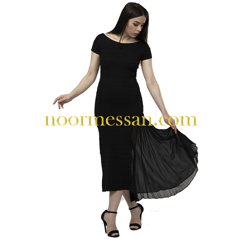 فستان كوكتيل ميدي للمناسبات- قماش بوكليه اسود