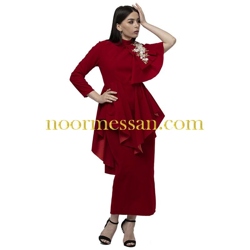 فستان سهرة طويل شامواه للمناسبات احمر