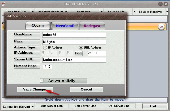 إضافة سيرفر سيسكام و سيرفر نيوكامد ببرنامج KYNG HD NetFile 2.00