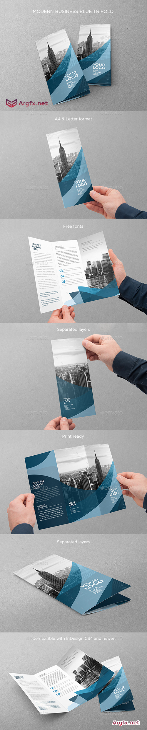 Modern Business Blue Trifold 15589257