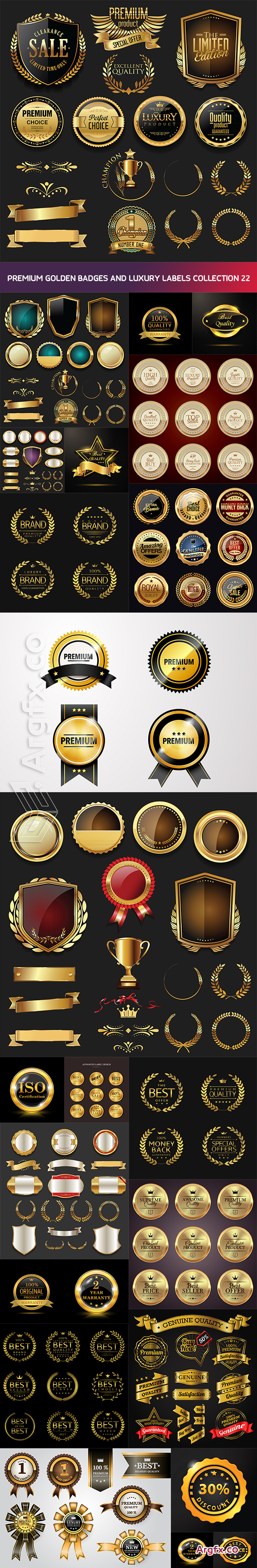 Premium golden badges and luxury labels collection 22